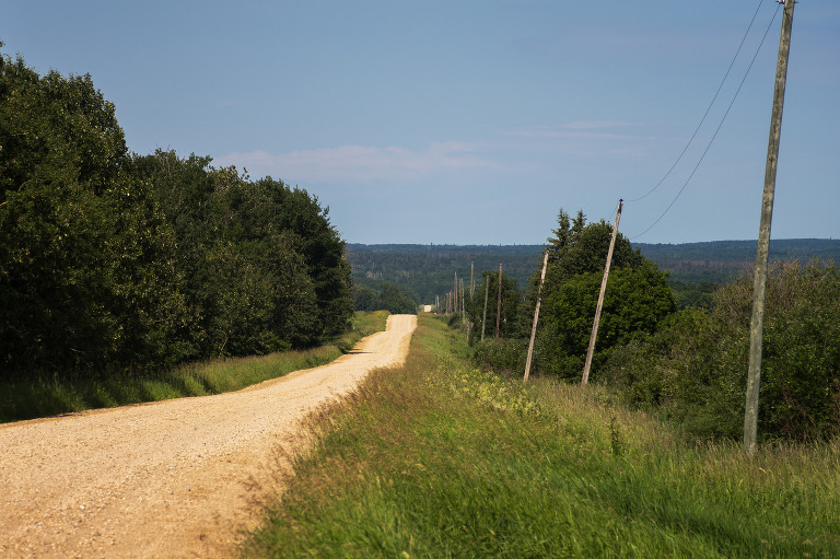 A dirt road leading to Duck Mountain, Manitoba.